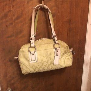 Coach citron green and cream Coach handbag
